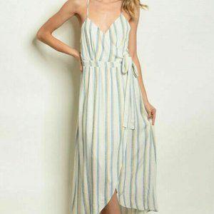 Harper Heritage Dress Ivory Blue Stripe M